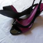 Next lakierki sandałki 40 czarne fuksja