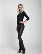 Nowe spodnie skóra eko ocieplane polar xs s 34 36 rurki...