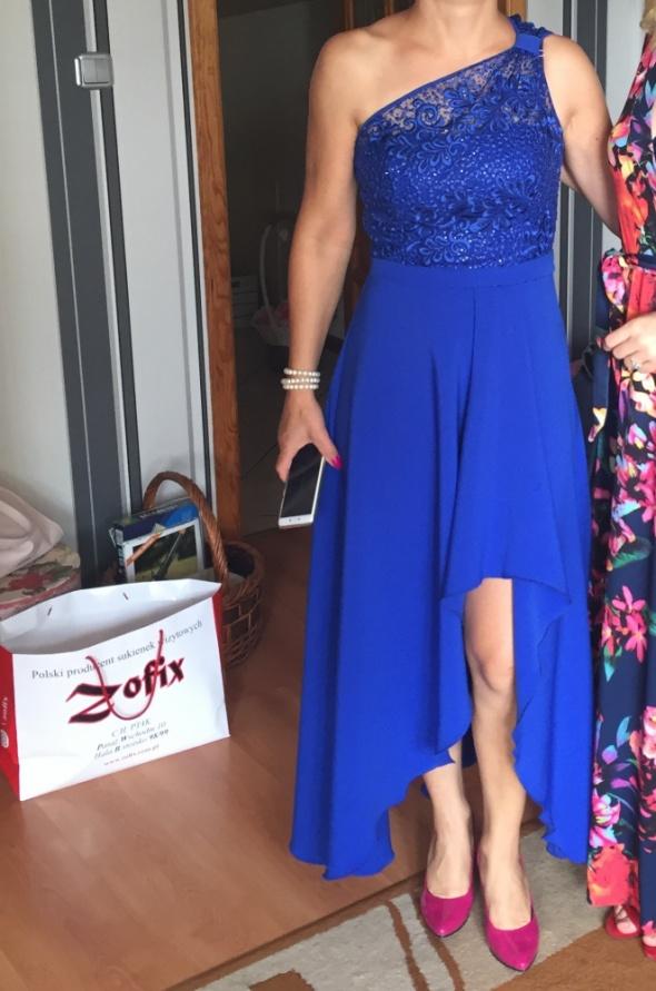 Sukienka chabrowa kobaltowa M na jedno ramię asymetryczna