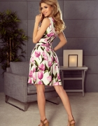 Sukienka rozkloszowana z dekoltem KWIATY s m l xl xxl...