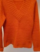 Rudy ciepły sweter S lub M...