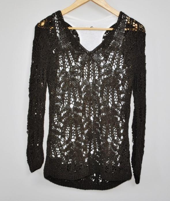 Brązowy Czekoladowy Sweter Sweterek Szydełkowy Dziergany Na Drutach Ażurowy Hippie Boho Retro