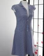 Sukienka vintage krata kratka kołnierzyk klosz