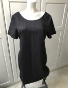 Sukienka Next brązowa w paski prosta klasyczna krótki rękaw...