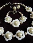 Kremowo perłowe kwiaty piękny zestaw biżuterii...