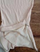 Brzoskwiniowa bluzka tunika z zipami