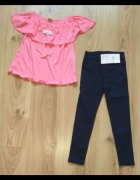 Granatowe getry i różowa bluzka hiszpanka falbana...