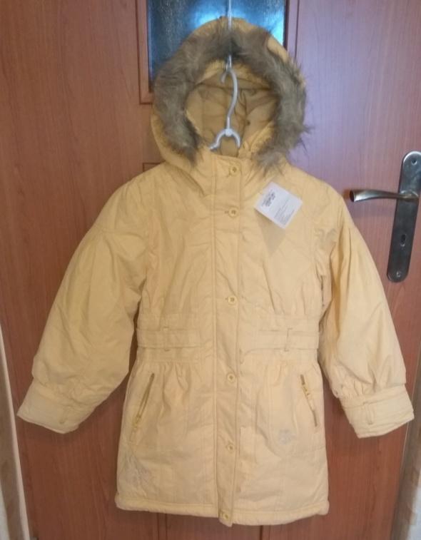 Nowa kurtka płaszczyk żółty dziewczęcy 134 140