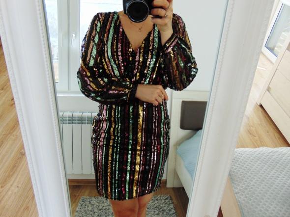 nowa cekinowa sukienka boska V...