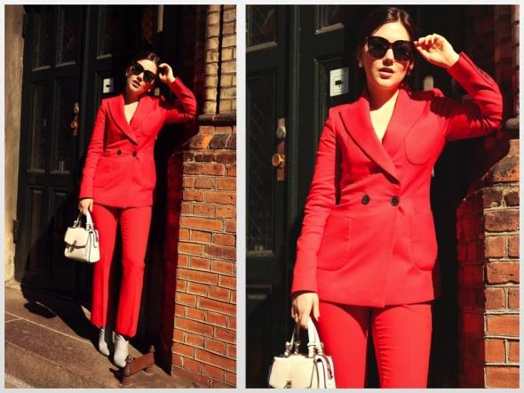 Zara nowy czerwony garnitur dwurzędowy...