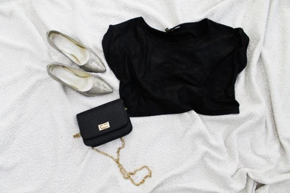 Krótka bluzka top H&M ala skórka