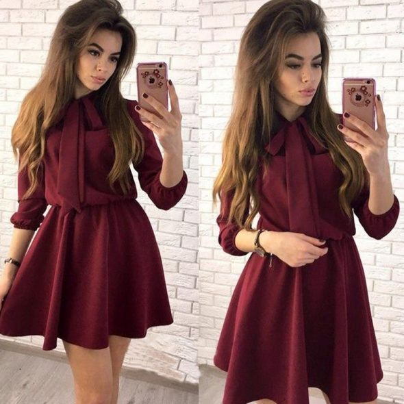 Bordowa sukienka z wiązaniem