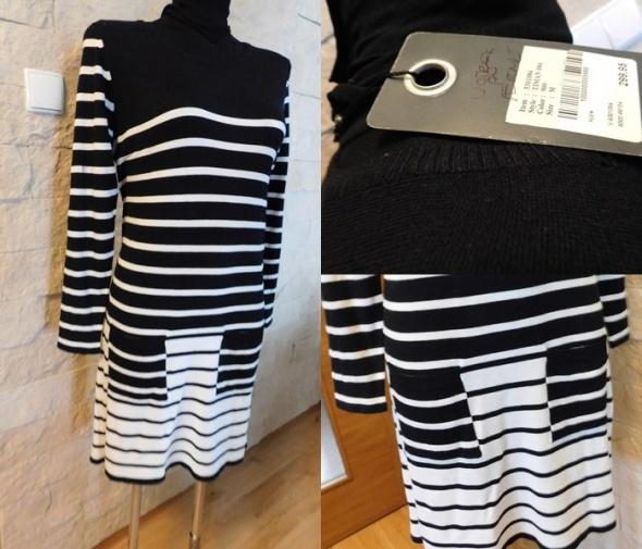 Sukienka sweterkowa 44 46 XXL biało czarna nowa...