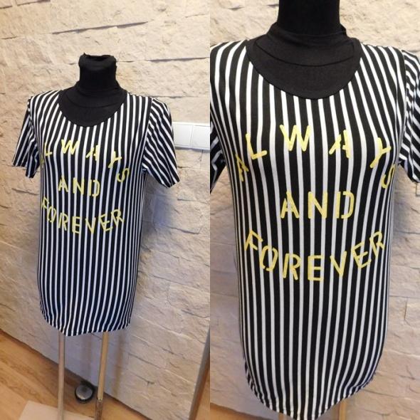 Sukienka 38 40 42 dresowa w paski napis neon