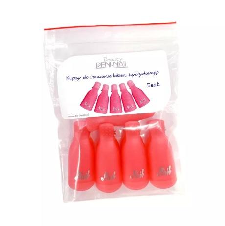 Paznokcie Różowe Klipsy do usuwania hybryd AKRYLU ŻELU 5 szt róż