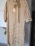 Selected Femme nowa sukienka nude beżowa paski złote kokarda wi...