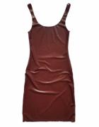 sukienka z lateksu latex wet look połysk brązowa seksi obcisła ...