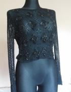 Piękna czarna zdobiona ażurowa bluzka 38 40