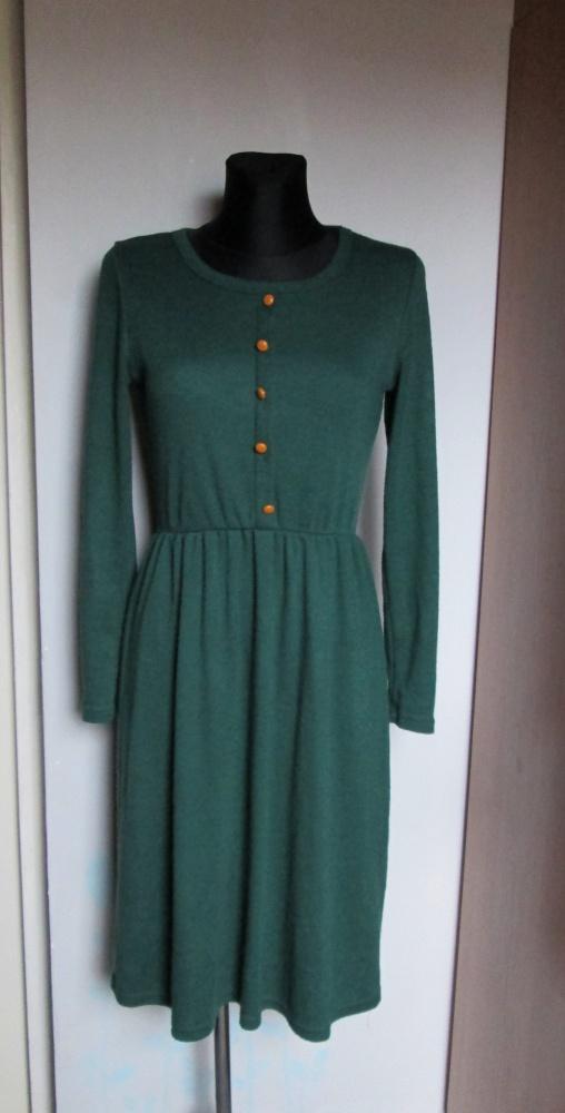 Suknie i sukienki Dzianinowa ciemno zielona sukienka z długim rękawem