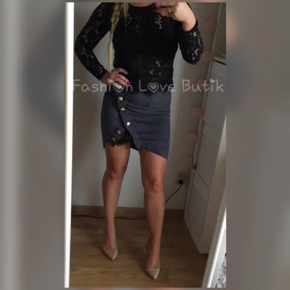 Spódnice Spodniczka szara koronka welur złote guziki S
