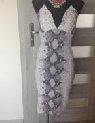sukienka midi wężowy wzór dekolt bodycon