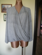 bluzka kopertowa czarno biała wzór L XL