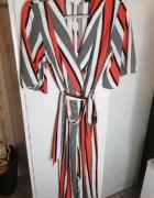 kombinezon w paski pasy żywe kolory czerwony biały hit modne...
