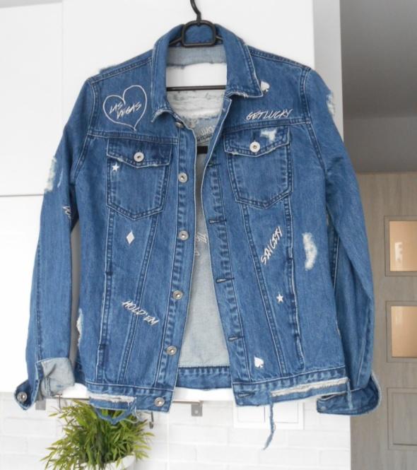 Odzież wierzchnia Missguided nowa jeansowa kurtka katana jeans dziury ripped hafty