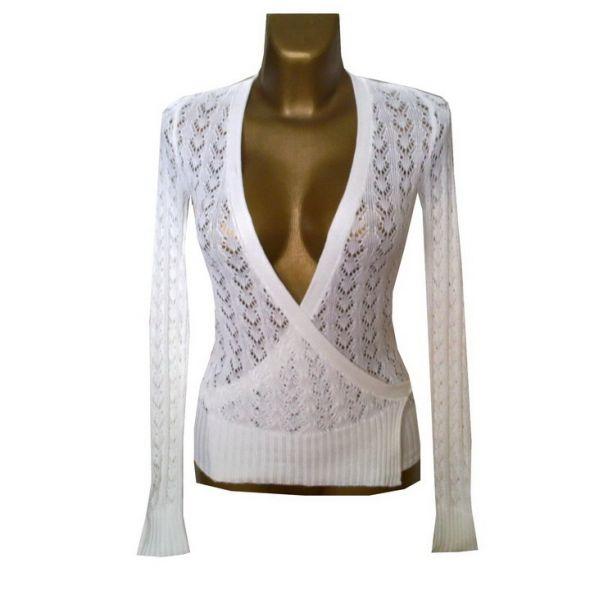 Vero Moda Biały Sweter Kopertowy Ażur 34 36...