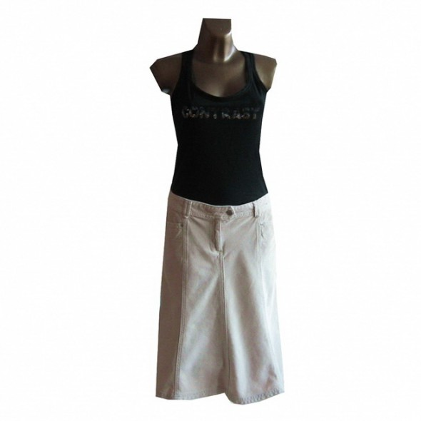 Spódnice Kremowa Spódnica Gruby Sztruks L XL