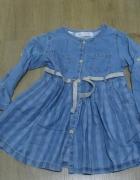 sukienka jeans Zara 92 niebieska z paskiem