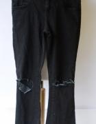 Spodnie Zara M 38 Rozszerzane Nogawki Dziury Szare Grafitowe...