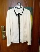 Biała koszula z czarnym paskiem biznesowa Orsay 38...
