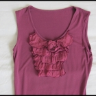 Fioletowa bluzka z żabotem rozmiar 38 M