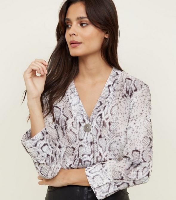 New Look bluzka wężowy wzór guzik...