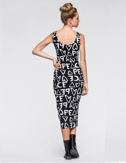 RAINBOW czarna sukienka białe napisy rozm 32 34