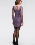 RAINBOW wrzosowa koronkowa sukienka roz 32 34