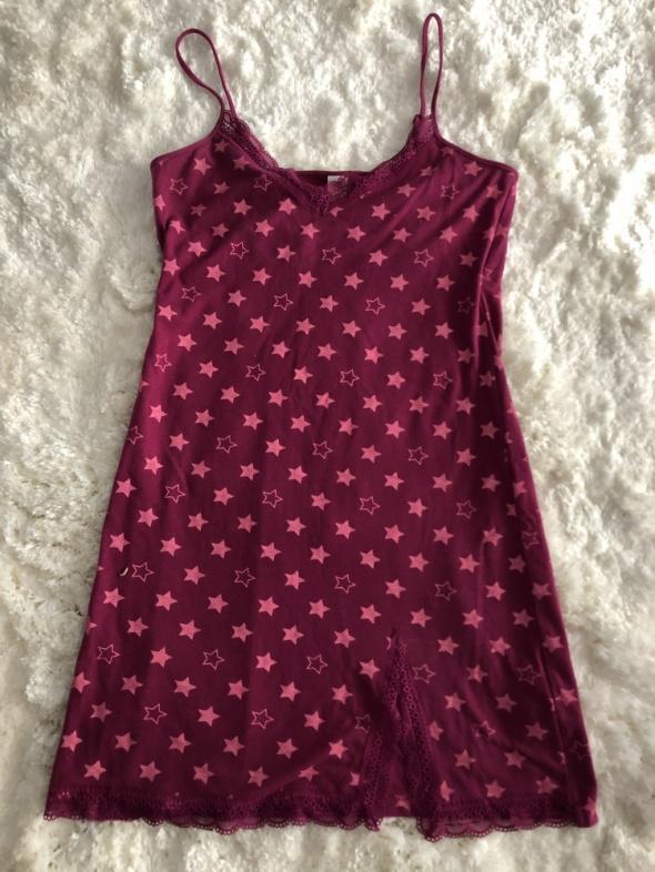 Koszule nocne Fioletowa koszula nocna w różowe gwiazdki