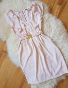 Sukienka H&M Pudrowy róż falbanki Falbana pasek 36...
