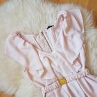 Sukienka H&M Pudrowy róż falbanki Falbana pasek 36