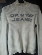 Donna Karan NY Biały sweter Rozmiar L...