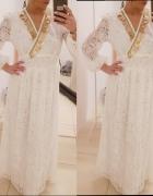 Piękna boho koronkowa maxi sukienka złoto z rękawem s m l xl
