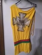 Żółta asymetryczna tunika...