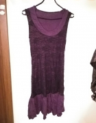 Fioletowo czarna sweterkowa tunika sukienka...