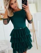 Efektowna sukienka falbanki XS S M L KOLORY czarny zielony czer...