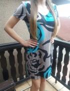 Sukienka kolorowa czarny niebieski beż r 44 46 bardzo ładna...
