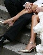srebrno złote szpileczki skórzane ślubne 37