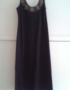 Czarna długa sukienka bez rękawów z koralikami