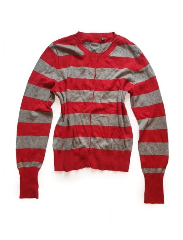 modny sweter w paski zapinany ciepły M 38...