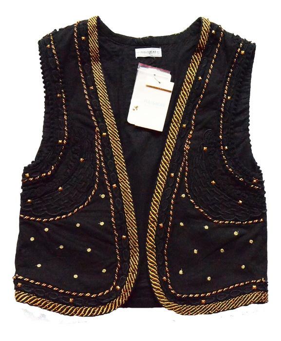 Kamizelki Czarna kamizelka złote ornamenty Pull&Bear